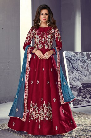 Beautiful Maroon Silk Embroidered Anarkali Salwar Suit With Organza Dupatta