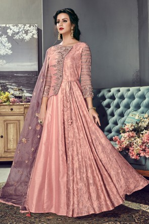 Charming Peach Silk Embroidered Anarkali Salwar Suit With Organza Dupatta