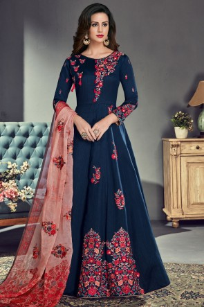 Marvelous Navy Blue Silk Embroidered Anarkali Salwar Suit With Organza Dupatta
