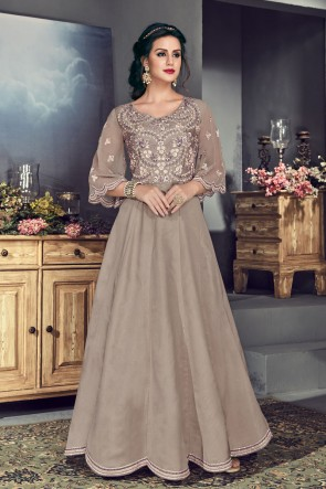 Embroidered Grey Silk Anarkali Salwar Suit With Organza Dupatta