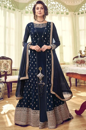 Navy Blue Diamond Work Georgette Fabric Abaya Style Anarkali Suit And Dupatta