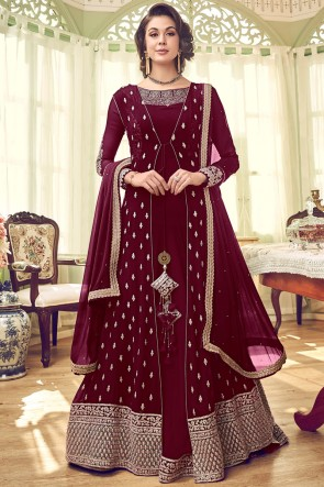 Admirable Georgette Embroidered Abaya Style Anarkali Suit And Santoon Bottom