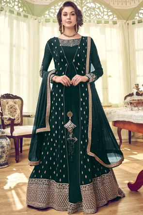 Party Wear Diamond And Embroidery Work Georgette Fabric Anarkali Suit And Dupatta