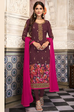 Purple Georgette Digital Print And Embroidered Casual Salwar Kameez And Santoon Bottom
