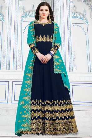 Gorgeous Georgette Navy Blue Embroidery Work Designer Salwar Suit And Dupatta
