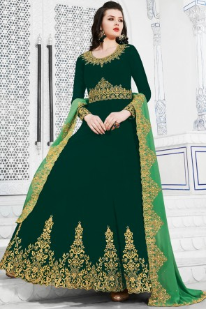 Stunning Embroidered Designer Green Georgette Salwar Suit And Dupatta