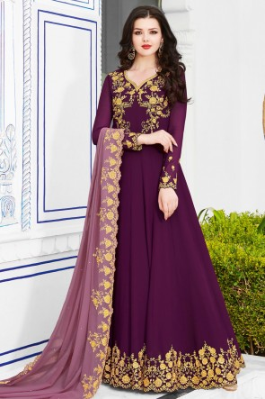 Desirable Purple Georgette Embroidered Salwar Suit And Dupatta