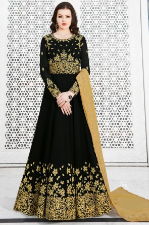 Graceful Black Embroidered Designer Salwar Suit With Georgette Dupatta
