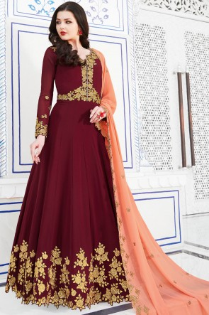 Delicate Embroidery Work Maroon Salwar Suit With Georgette Dupatta
