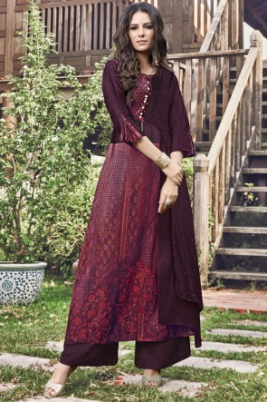 Stylish Jacquard Embroidered And Printed Maroon Plazzo Suit