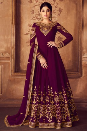 Beautiful Magenta Shamita Shetty Designer Georgette Embroidered Anarkali Suit And Dupatta