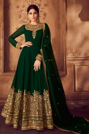 Charming Green Embroidered Georgette Shamita Shetty Anarkali Suit And Dupatta