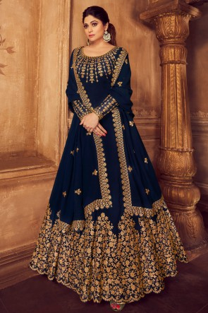Shamita Shetty Designer Embroidered Navy Blue Georgette Anarkali Suit And Dupatta