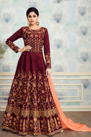 Heavy Designer Maroon Silk Embroidered Shamita Shetty Anarkali Suit With Nazmin Dupatta