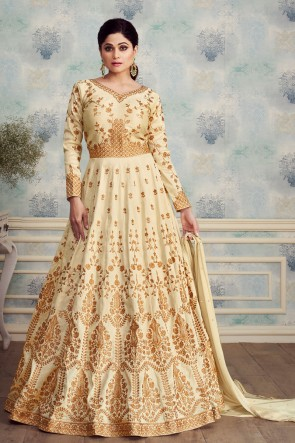 Shamita Shetty Cream Embroidered Silk Anarkali Suit With Nazmin Dupatta