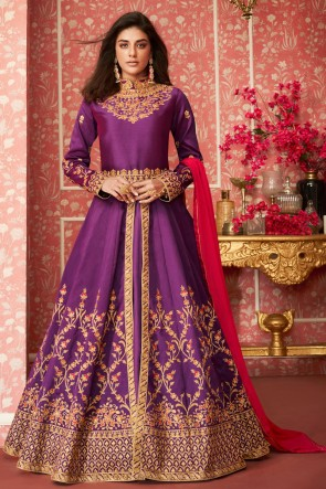 Optimum Violet Silk Embroidered Anarkali Suit With Nazmin Dupatta