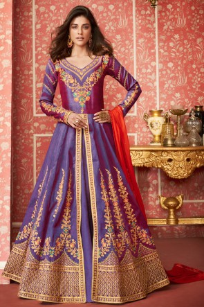 Admirable Silk Embroidered Purple Anarkali Suit With Nazmin Dupatta