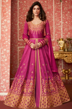 Supreme Pink Silk Embroidered Anarkali Suit With Nazmin Dupatta