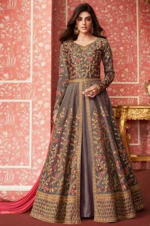 Solid Grey Embroidered Silk Anarkali Suit With Nazmin Dupatta