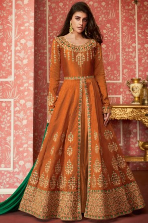 Excellent Silk Embroidered Mustard Anarkali Suit With Nazmin Dupatta