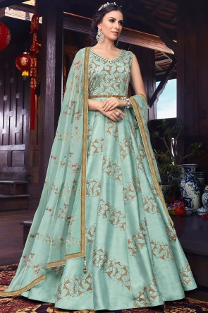 Sky Blue Thread And Embroidery Work Designer Silk Abaya Style Anarkali Suit With Net Dupatta