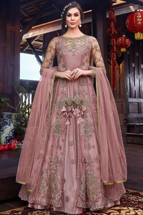 Embroidered And Thread Work Wine Net Fabric Abaya Style Anarkali Suit And Dupatta