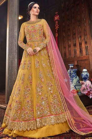 Heavy Designer Yellow Thread Work Net Fabric Abaya Style Anarkali Suit And Dupatta