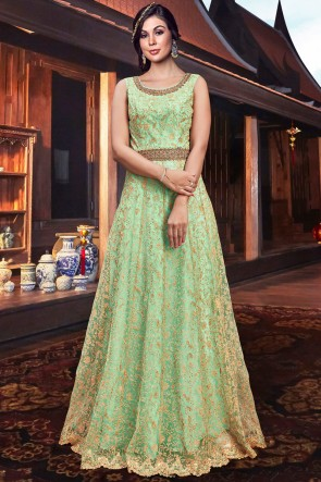 Excellent Sea Green Embroidery Work Tussar Silk Abaya Style Anarkali Suit And Silk Bottom
