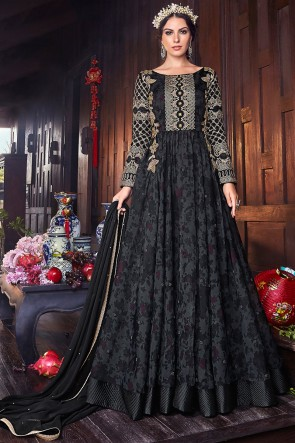 Embroidery And Thread Work Organza Fabric Black Abaya Style Anarkali Suit With Chiffon Dupatta