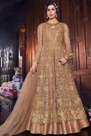 Party Wear Net Fabric Beige Thread Work Stylish Anarkali Suit And Silk Bottom