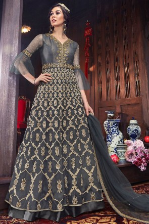 Ultimate Embroidered Grey Net Fabric Abaya Style Anarkali Suit And Silk Bottom