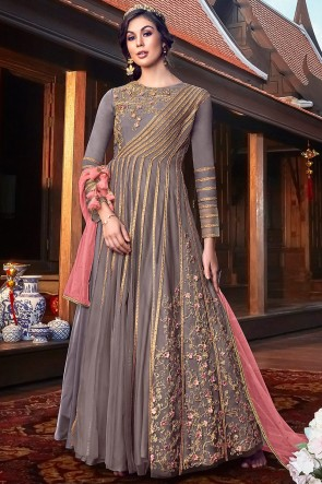 Embroidery And Thread Work Grey Net Fabric Anarkai Suit And Santoon Bottom