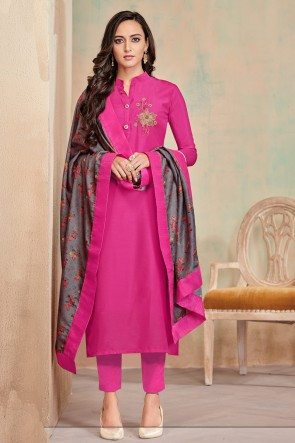 Pink Digital Print Cotton Casual Salwar Suit With Maslin Dupatta