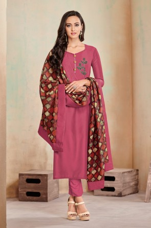 Party Wear Rust Cotton Digital Print Casual Salwar Suit With Maslin Dupatta
