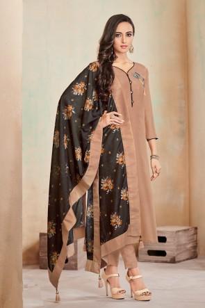 Khaki Digital Print Cotton Casual Salwar Suit With Maslin Dupatta