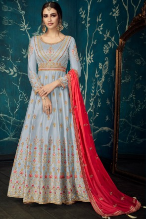 Charming Grey Embroidered Satin Anarkali Suit With Chiffon Dupatta