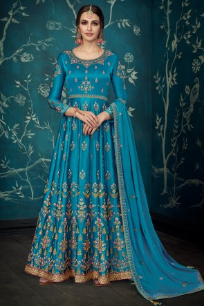 Sky Blue Satin Embroidred Anarkali Suit With Chiffon Dupatta
