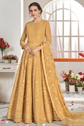 Heavy Designer Mustard Embroidered Designer Abaya Style Anarkali Suit With Net Dupatta
