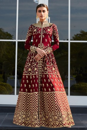 Heavy Designer Red Embroidered And Lace Work Silk Abaya Style Anarkali Suit With Nazmin Dupatta