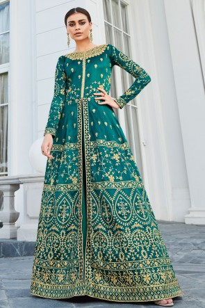 Lace Work And Embroidered Turquoise Silk Fabric Designer Abaya Style Anarkali Suit With Nazmin Dupatta
