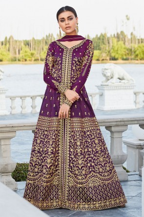 Party Wear Lace Work And Embroidered Purple Silk Fabric Abaya Style Anarkali Suit And Dupatta