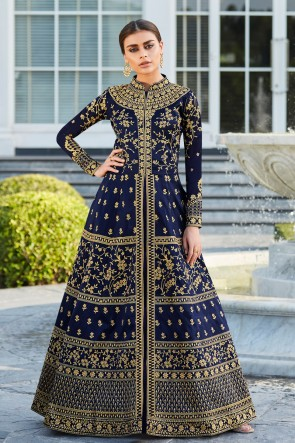 Abaya Style Silk Fabric Blue Embroidered And Lace Work Anarkali Suit With Nazmin Dupatta