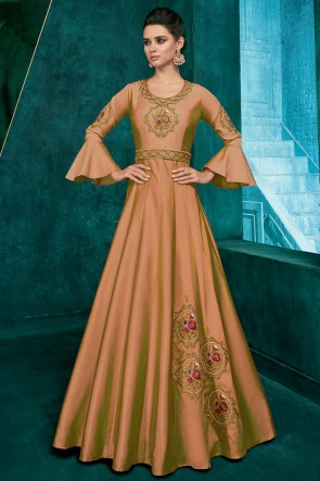 Optimum Khaki Silk Embroidered Excellent Gown