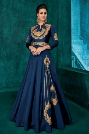 Admirable Navy Blue Silk Fabric Embroidered Designer Gown