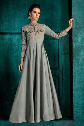 Beautiful Silver Embroidered Designer Silk Fabric Gown