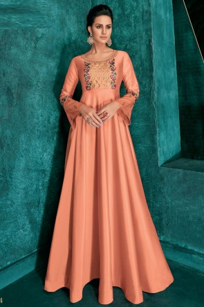 Charming Embroidered Peach Silk Fabric Gown