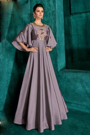 Heavy Designer Grey Silk Embroidered Excellent Gown