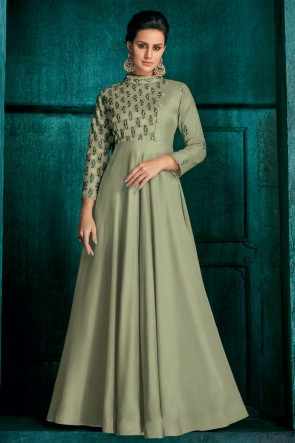 Ultimate Embroidered Pista Silk Fabric Gown