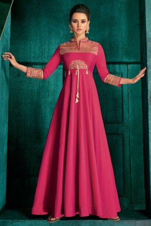 Fascinating Pink Silk Fabric Embroidered Designer Gown