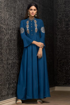 Navy Blue Embroidered Muslin Excellent Gown